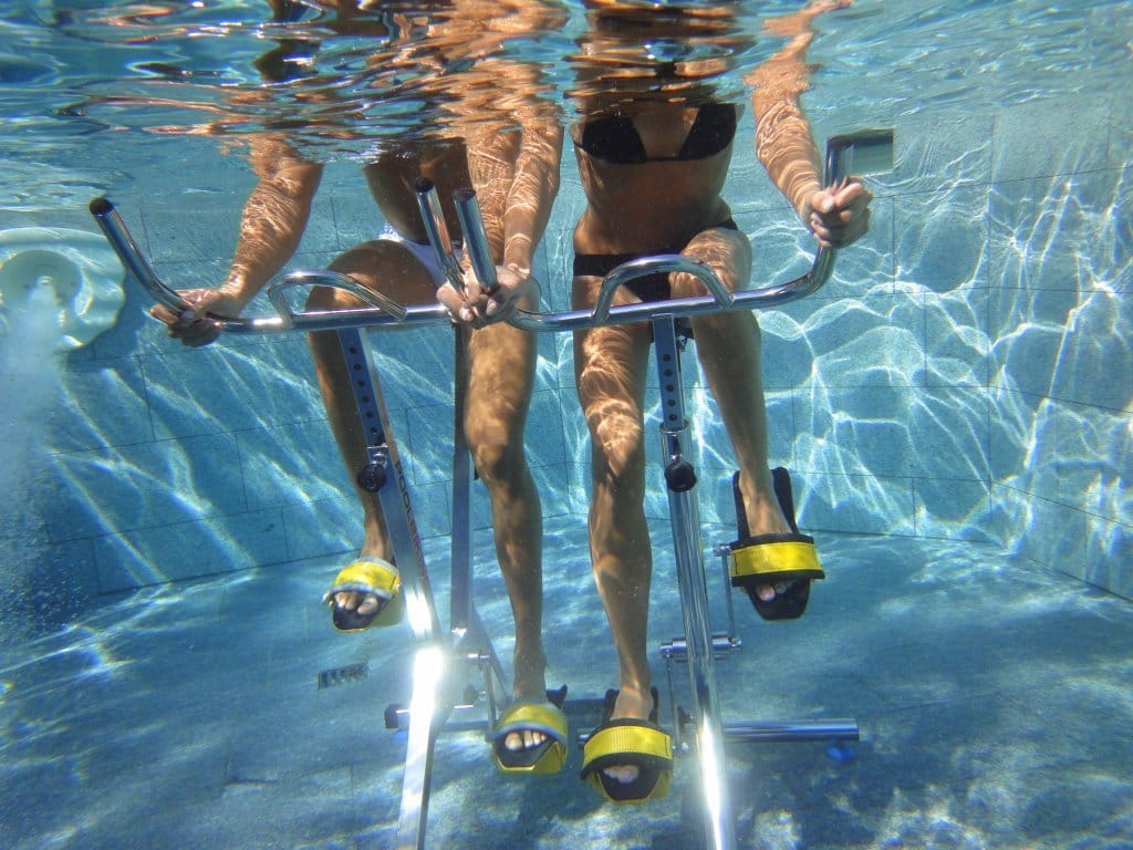 Poolbiking underwater pedals and body