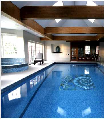 Indoor tiled skimmer pool