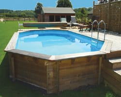 Certikin premium stretched wooden semi submerged pool